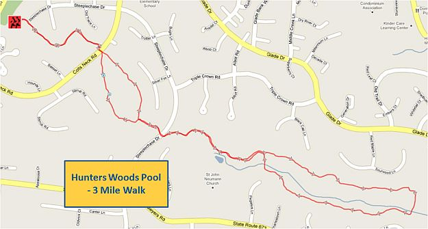 Hunters Woods Pool 3 Mile Walk Map