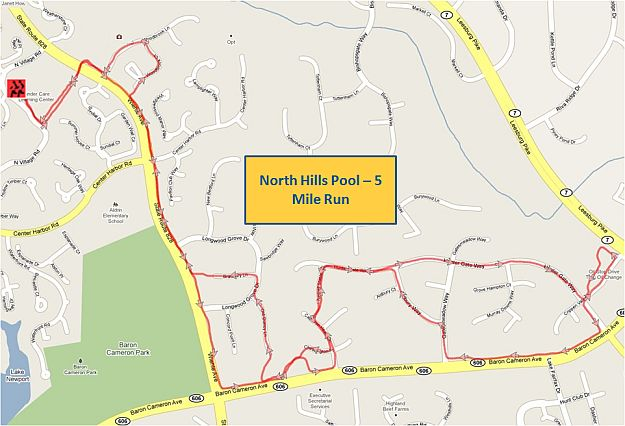 North Hills Pool 5 Mile RunA Map